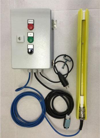 Hochleistungs Profi Amalgam Tauchstrahler - Metallschrank mit Sicherheitsabschaltung, Sicherung, Betriebsstundenzaehler, EVG und Tauchstrahler